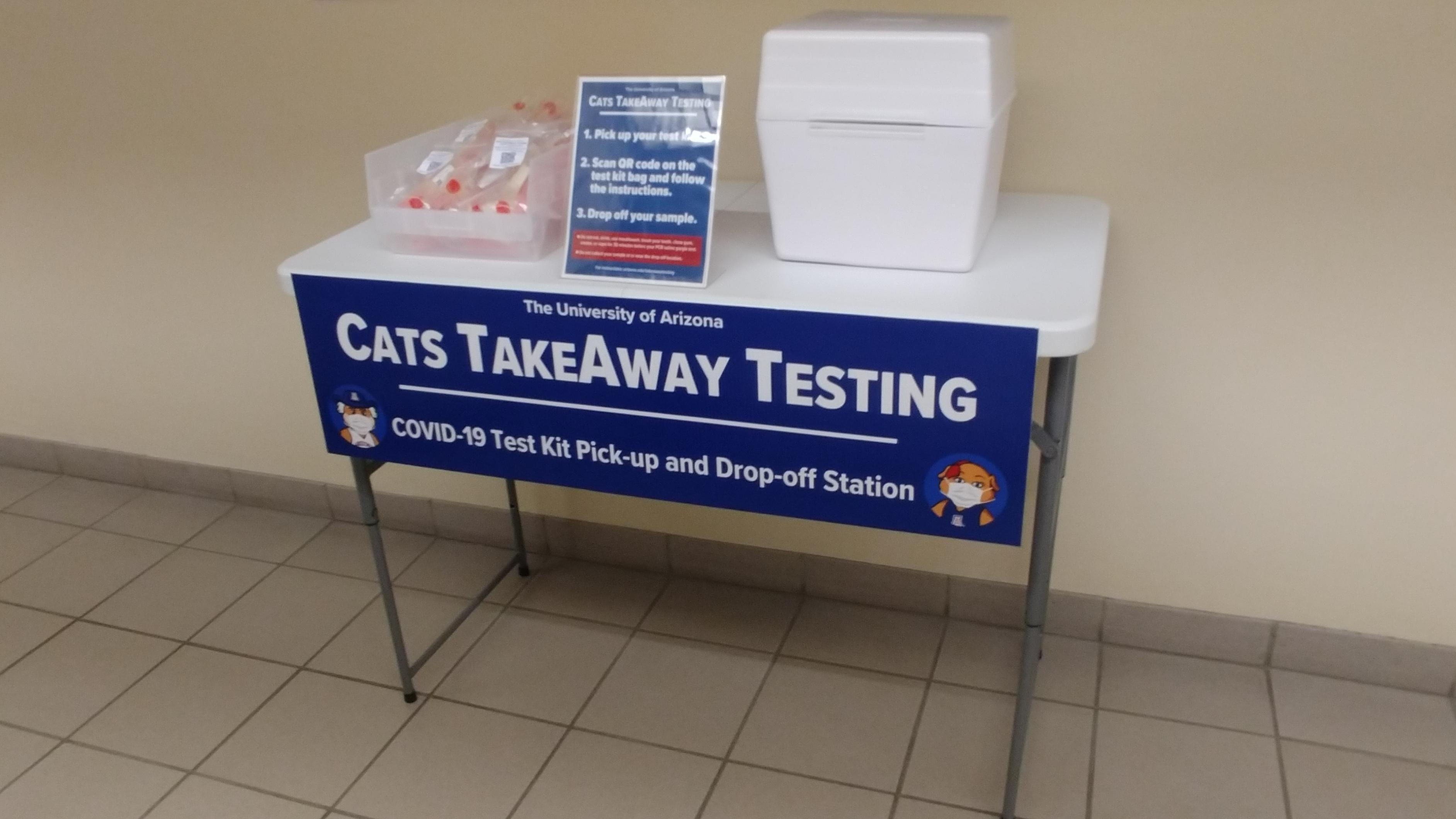 HSL CATS TakeAway Testing tests on a table with a sign