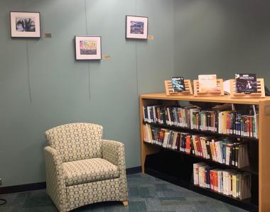 comfortable chair next to a shelf of books